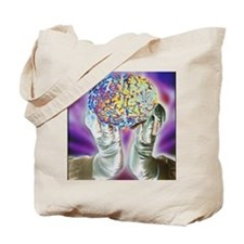 loved hands holding a human brain in fron Tote Bag