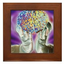 loved hands holding a human brain in f Framed Tile