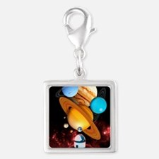 Observing the planets Silver Square Charm