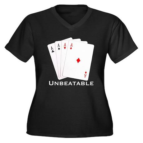 Unbeatable - Women's Plus Size V-Neck Dark T-Shir