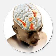 Placebo effect in the brain, artw Round Car Magnet