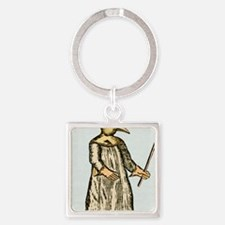 Plague doctor, France, 18th centur Square Keychain
