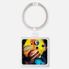 Planets Square Keychain