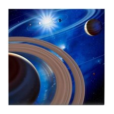 Saturn and solar system Tile Coaster