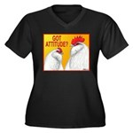 Got Attitude? Women's Plus Size V-Neck Dark T-Shir