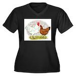 White Red Chickens Women's Plus Size V-Neck Dark T