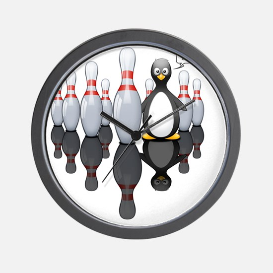 Bowling - Black Wall Clock