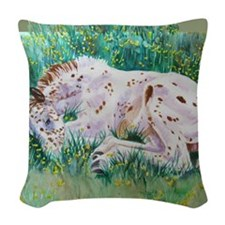 Lots of Dots! Appaloosa Foal Woven Throw Pillow