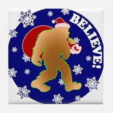 Sasquatch Santa Believe Tile Coaster