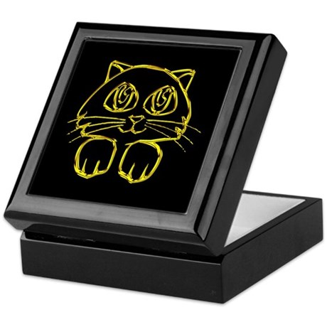 Gold Kitten Face Keepsake Box
