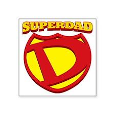 "SuperDad Shield  Name Square Sticker 3"" x 3"""