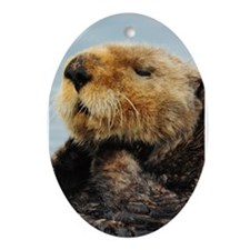 Alaskan Sea Otter Galaxy Oval Ornament