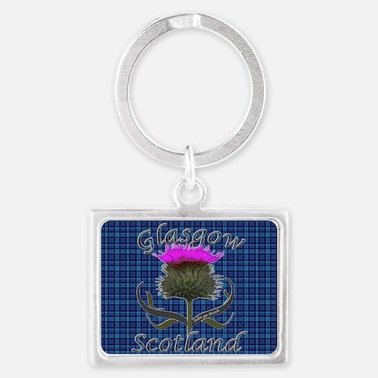 Glasgow Scotland blue tartan th Landscape Keychain