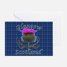 Glasgow Scotland blue tartan thistle Greeting Card
