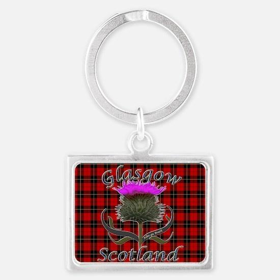 Glasgow Scotland red tartan thi Landscape Keychain