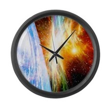 Solar flare threatening Earth Large Wall Clock