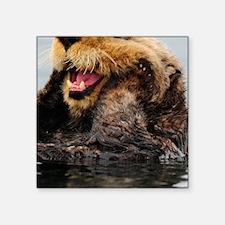 """Alaskan Sea Otter Galaxy Square Sticker 3"""" x 3"""""""