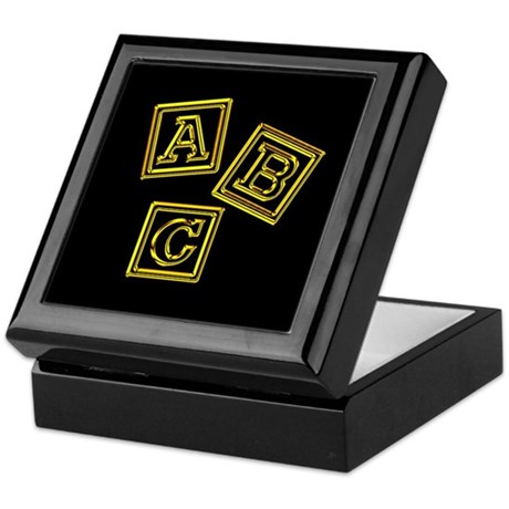 Gold ABC Blocks Keepsake Box