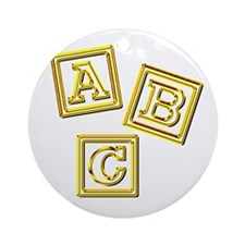 Gold ABC Blocks Ornament (Round)