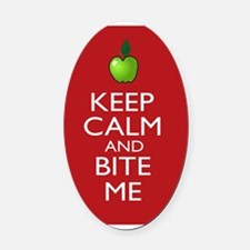 Keep Calm and Bite Me Oval Car Magnet