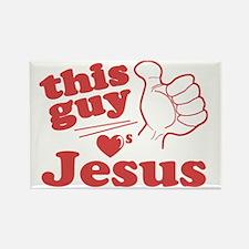 This Guy Loves Jesus Rectangle Magnet