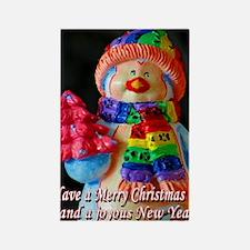 Rainbow Scarf Snowman Christmas Rectangle Magnet