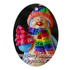 Rainbow Scarf Snowman Christmas Oval Ornament