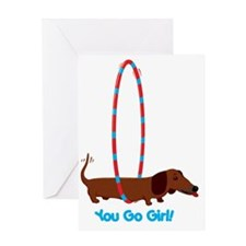 Hula Hoop Dachshund Greeting Card
