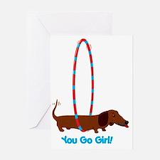 Hula Hoop Dachshund Greeting Card