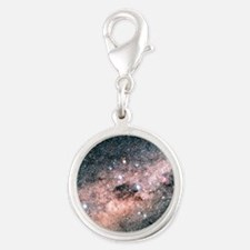 Starfield centred on the const Silver Round Charm