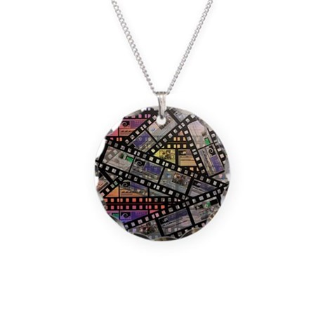 Photographic film, computer Necklace Circle Charm