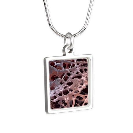 Spongy bone, SEM Silver Square Necklace