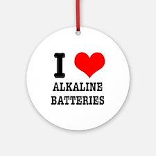 I Heart (Love) Alkaline Batteries Ornament (Round)
