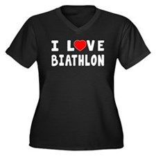 I Love Biathlon Women's Plus Size V-Neck Dark T-Sh