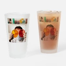 Technician with bacterial cultures  Drinking Glass