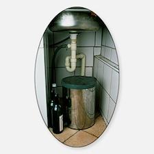 View beneath a kitchen sink Sticker (Oval)