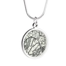 Transmission electron microg Silver Round Necklace