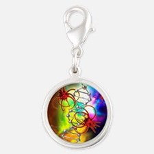 Viruses attacking a cell's DNA Silver Round Charm