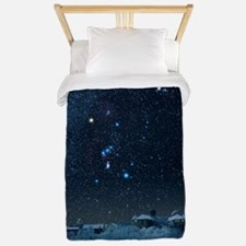 Winter sky with Orion constellation Twin Duvet