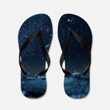 Winter sky with Orion constellation Flip Flops