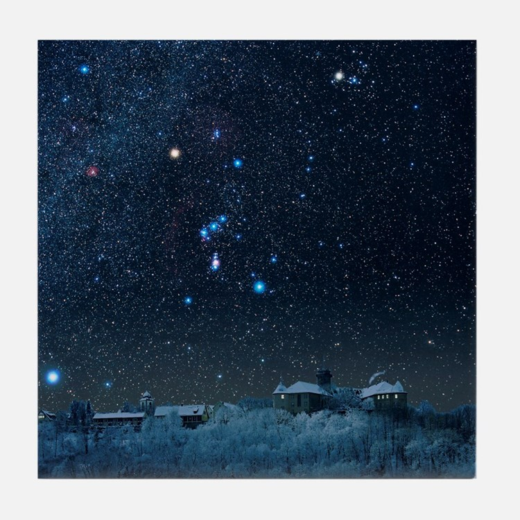 Winter sky with Orion constellation Tile Coaster