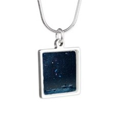 Winter sky with Orion cons Silver Square Necklace