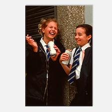Young teenage girls smoke Postcards (Package of 8)