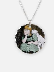 Dog Adoring Girl Victorian P Necklace