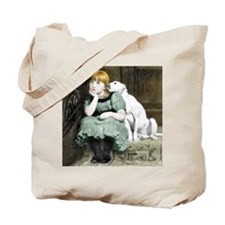 Dog Adoring Girl Victorian Painting Tote Bag