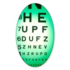 View of a Snellen eye test chart Decal