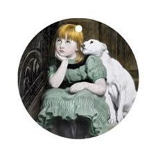 Dog Adoring Girl Victorian Painting Round Ornament