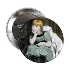 "Dog Adoring Girl Victorian Painting 2.25"" Button"