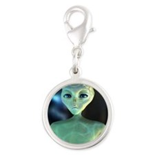 Alien Silver Round Charm