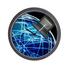 Abstract artwork of the Internet around Wall Clock